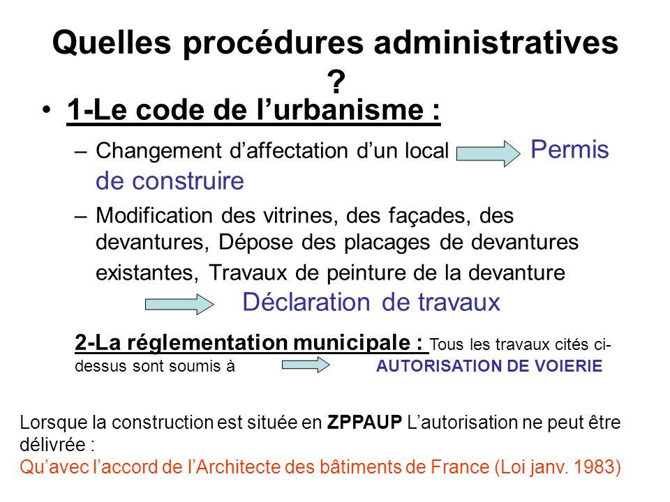 Quelles procédures administratives ? 1-Le code de lurbanisme : –Changement daffectation dun local Permis de construire –Modification des vitrines, des
