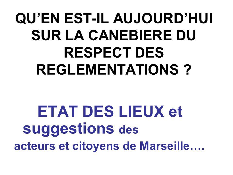 QUEN EST-IL AUJOURDHUI SUR LA CANEBIERE DU RESPECT DES REGLEMENTATIONS ? ETAT DES LIEUX et suggestions des acteurs et citoyens de Marseille….