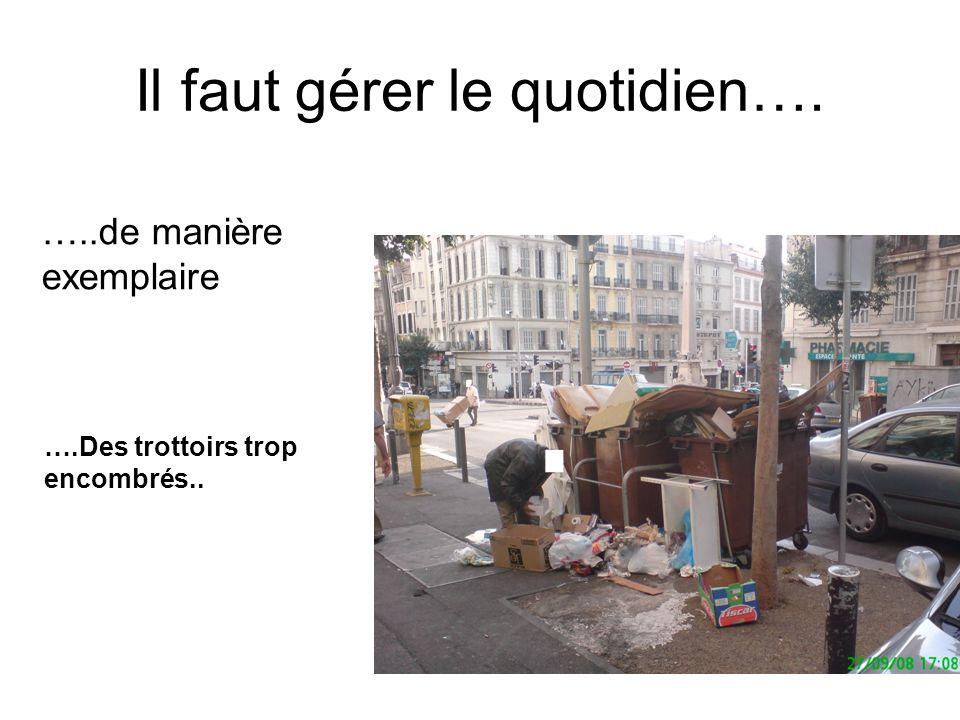 Il faut gérer le quotidien…. …..de manière exemplaire ….Des trottoirs trop encombrés..