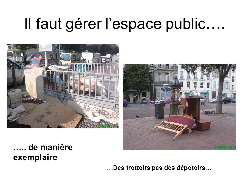 Il faut gérer lespace public…. ….. de manière exemplaire …Des trottoirs pas des dépotoirs…