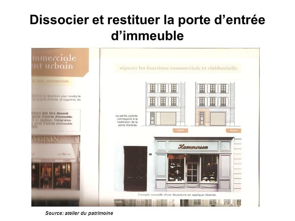 Dissocier et restituer la porte dentrée dimmeuble Source: atelier du patrimoine