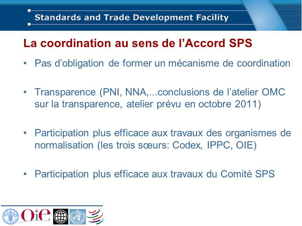 La coordination au sens de lAccord SPS Pas dobligation de former un mécanisme de coordination Transparence (PNI, NNA,...conclusions de latelier OMC su