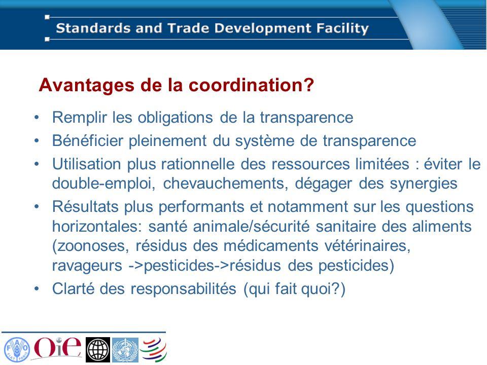 Avantages de la coordination? Remplir les obligations de la transparence Bénéficier pleinement du système de transparence Utilisation plus rationnelle