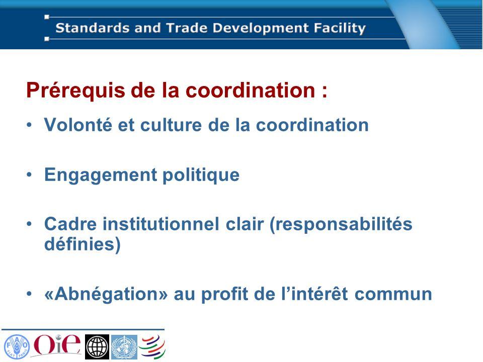 Prérequis de la coordination : Volonté et culture de la coordination Engagement politique Cadre institutionnel clair (responsabilités définies) «Abnégation» au profit de lintérêt commun