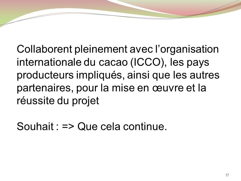 17 Collaborent pleinement avec lorganisation internationale du cacao (ICCO), les pays producteurs impliqués, ainsi que les autres partenaires, pour la mise en œuvre et la réussite du projet Souhait : => Que cela continue.