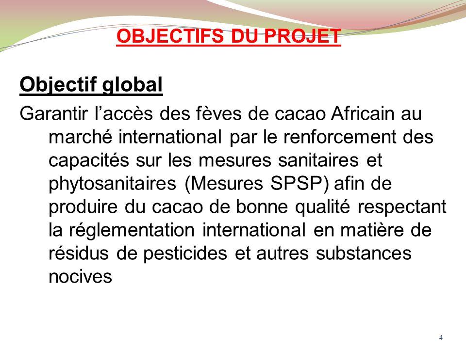 OBJECTIFS DU PROJET Objectif global Garantir laccès des fèves de cacao Africain au marché international par le renforcement des capacités sur les mesures sanitaires et phytosanitaires (Mesures SPSP) afin de produire du cacao de bonne qualité respectant la réglementation international en matière de résidus de pesticides et autres substances nocives 4
