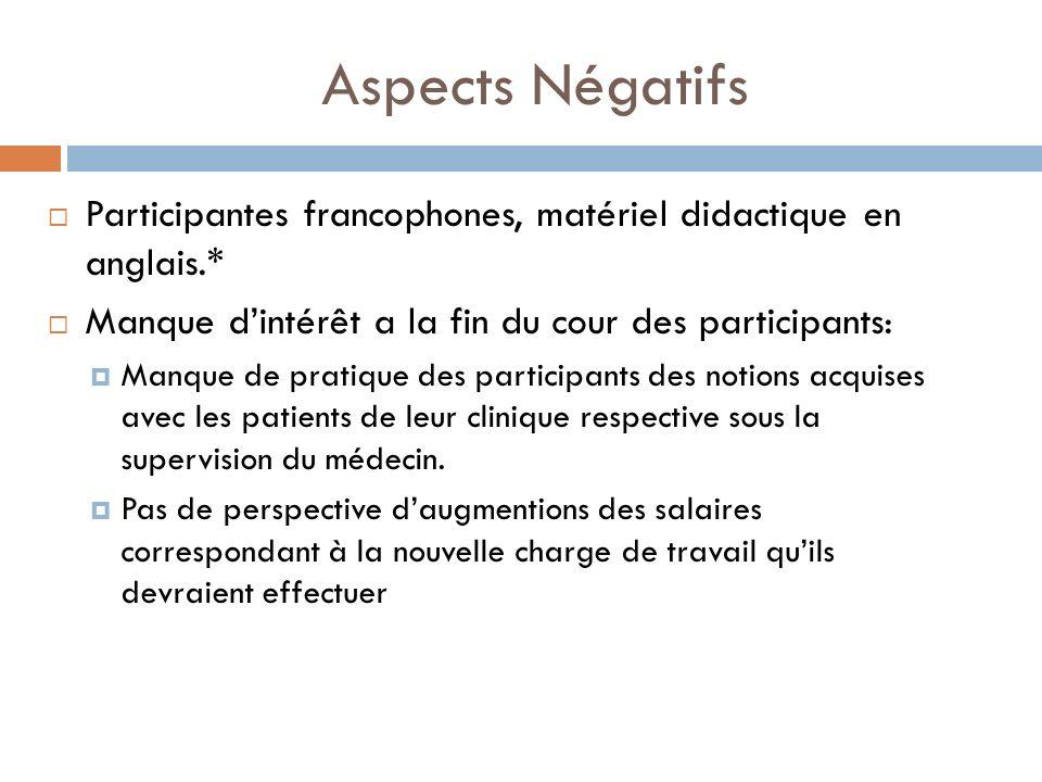 Aspects Négatifs Participantes francophones, matériel didactique en anglais.* Manque dintérêt a la fin du cour des participants: Manque de pratique de