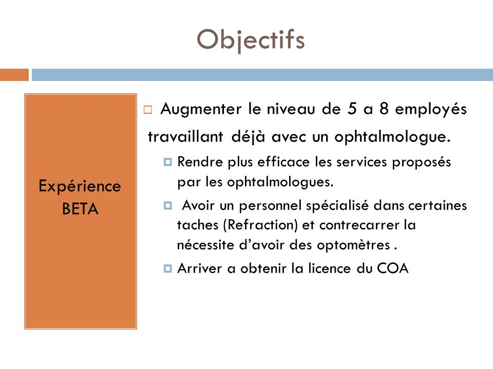 Objectifs Expérience BETA Augmenter le niveau de 5 a 8 employés travaillant déjà avec un ophtalmologue. Rendre plus efficace les services proposés par