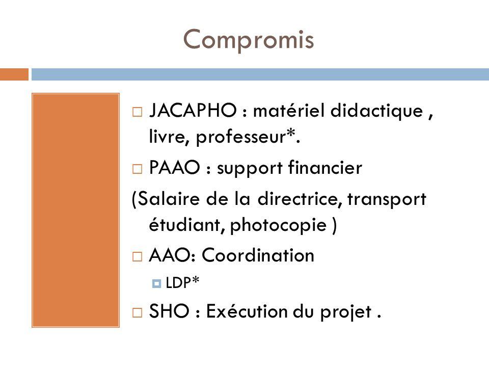 Compromis JACAPHO : matériel didactique, livre, professeur*. PAAO : support financier (Salaire de la directrice, transport étudiant, photocopie ) AAO: