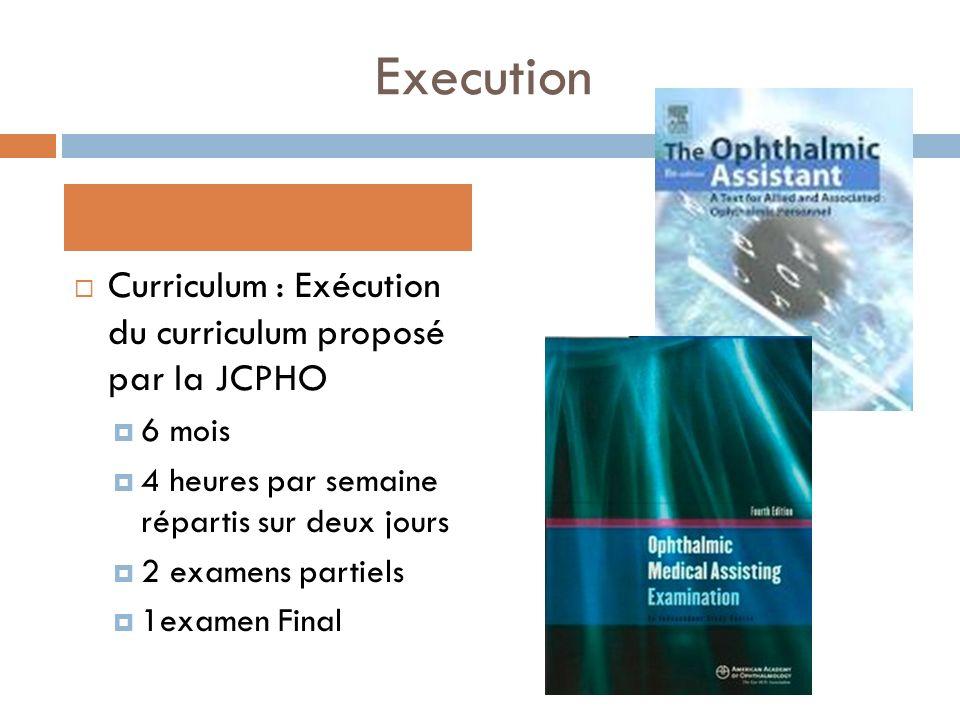 Execution Curriculum : Exécution du curriculum proposé par la JCPHO 6 mois 4 heures par semaine répartis sur deux jours 2 examens partiels 1examen Fin