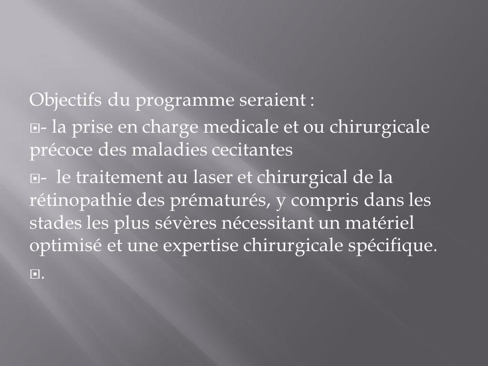 Objectifs du programme seraient : - la prise en charge medicale et ou chirurgicale précoce des maladies cecitantes - le traitement au laser et chirurgical de la rétinopathie des prématurés, y compris dans les stades les plus sévères nécessitant un matériel optimisé et une expertise chirurgicale spécifique..