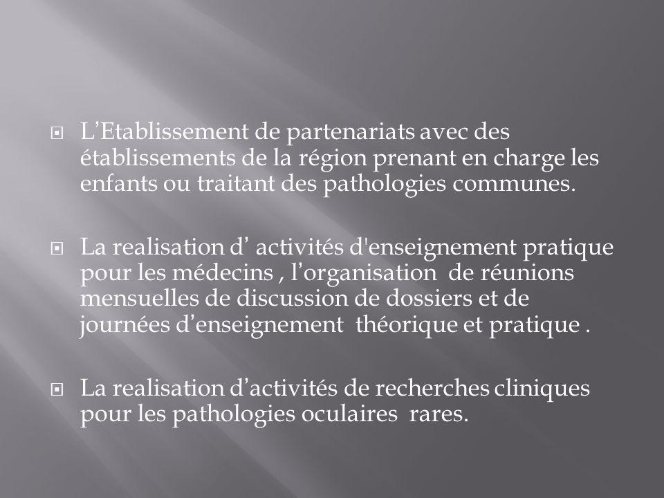 LEtablissement de partenariats avec des établissements de la région prenant en charge les enfants ou traitant des pathologies communes. La realisation