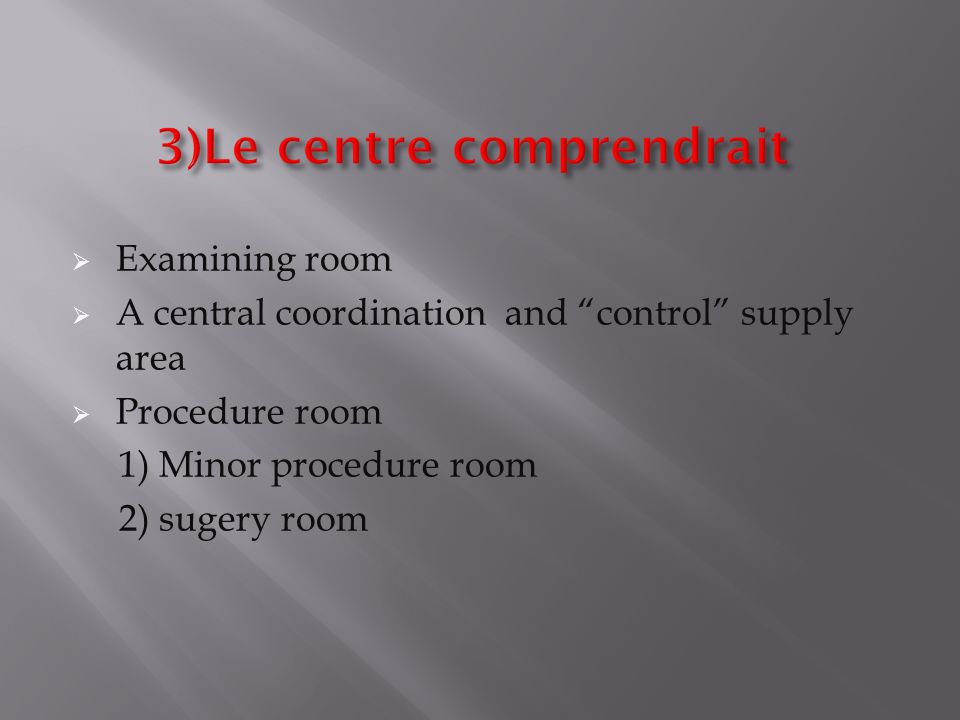 Examining room A central coordination and control supply area Procedure room 1) Minor procedure room 2) sugery room