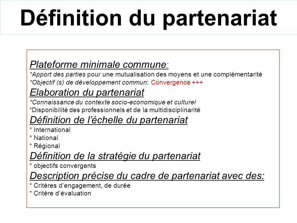 Définition du partenariat Plateforme minimale commune : *Apport des parties pour une mutualisation des moyens et une complémentarité *Objectif (s) de développement commun: Convergence +++ Elaboration du partenariat *Connaissance du contexte socio-economique et culturel *Disponibilité des professionnels et de la multidisciplinarité Définition de léchelle du partenariat * International * National * Régional Définition de la stratégie du partenariat * objectifs convergents Description précise du cadre de partenariat avec des: * Critères dengagement, de durée * Critère dévaluation