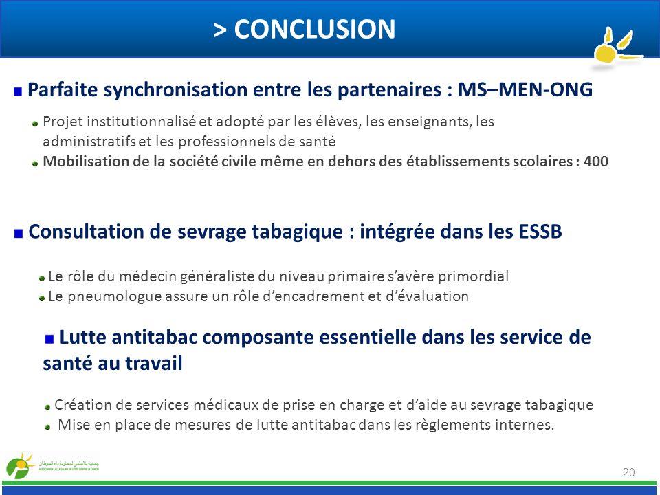> CONCLUSION 20 Consultation de sevrage tabagique : intégrée dans les ESSB Lutte antitabac composante essentielle dans les service de santé au travail