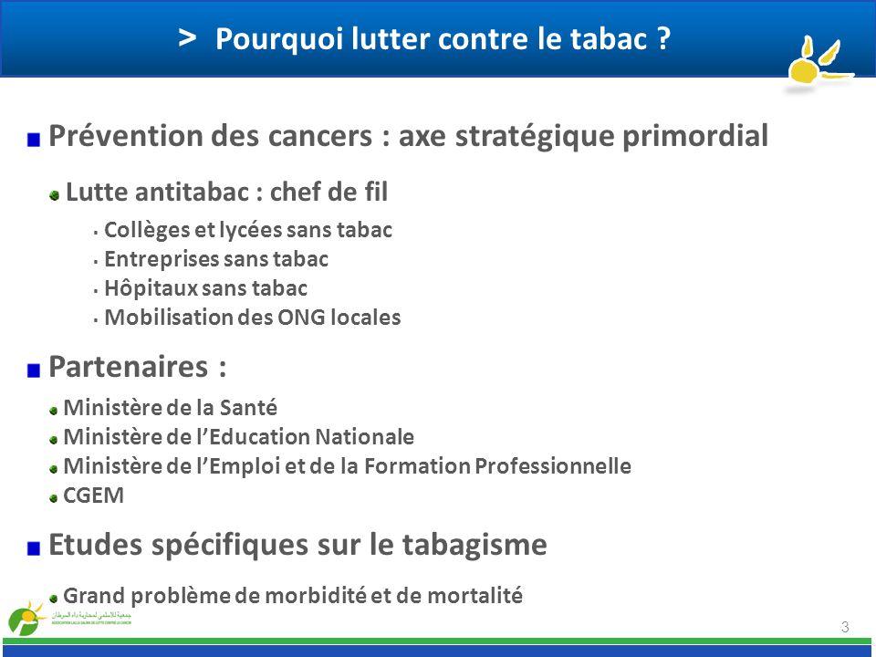 3 > Pourquoi lutter contre le tabac ? Prévention des cancers : axe stratégique primordial Lutte antitabac : chef de fil Collèges et lycées sans tabac