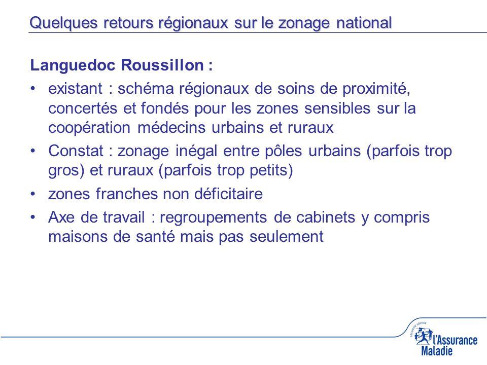 Quelques retours régionaux sur le zonage national Languedoc Roussillon : existant : schéma régionaux de soins de proximité, concertés et fondés pour l