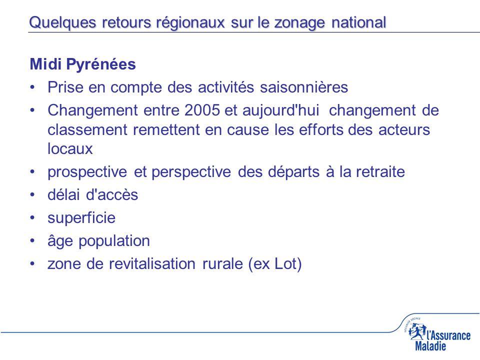 Quelques retours régionaux sur le zonage national Midi Pyrénées Prise en compte des activités saisonnières Changement entre 2005 et aujourd'hui change