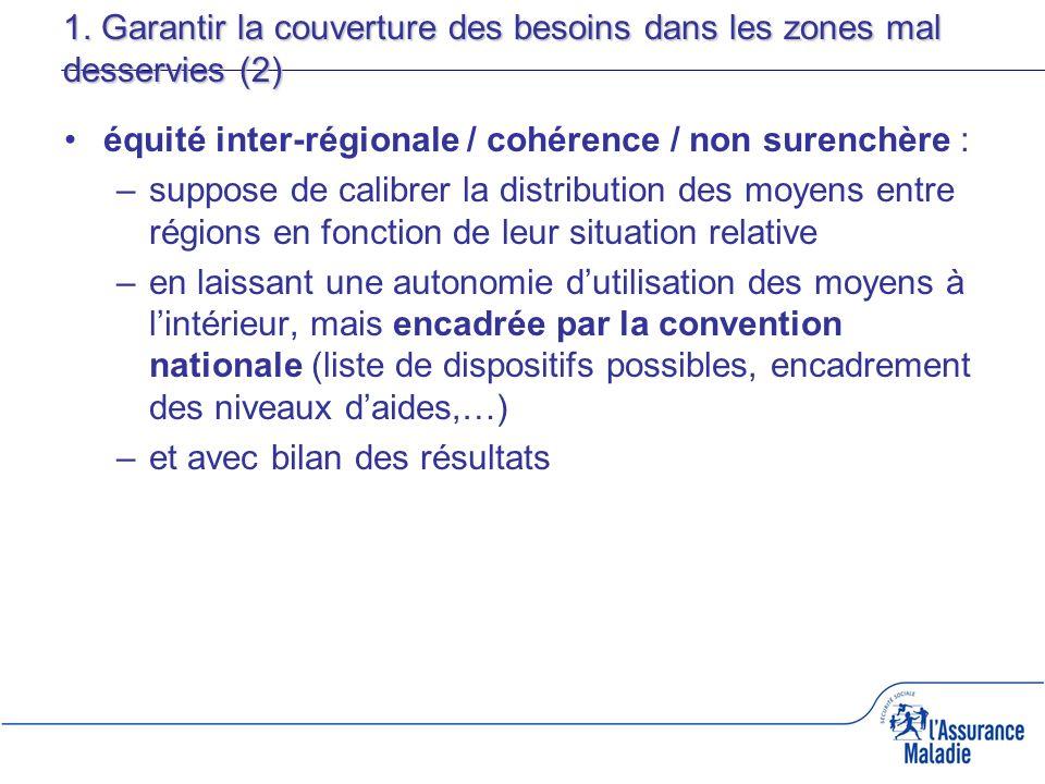 1. Garantir la couverture des besoins dans les zones mal desservies (2) équité inter-régionale / cohérence / non surenchère : –suppose de calibrer la