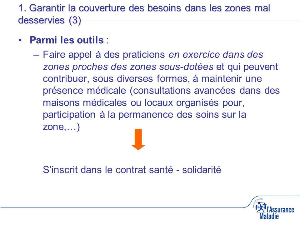 1. Garantir la couverture des besoins dans les zones mal desservies (3) Parmi les outils : –Faire appel à des praticiens en exercice dans des zones pr