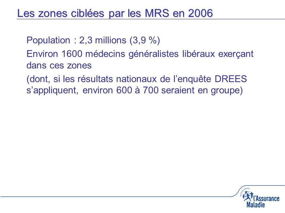 Population : 2,3 millions (3,9 %) Environ 1600 médecins généralistes libéraux exerçant dans ces zones (dont, si les résultats nationaux de lenquête DR