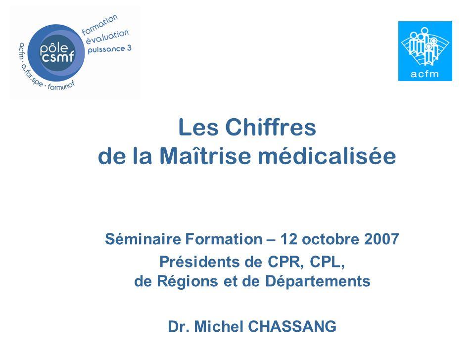 Les Chiffres de la Maîtrise médicalisée Séminaire Formation – 12 octobre 2007 Présidents de CPR, CPL, de Régions et de Départements Dr.