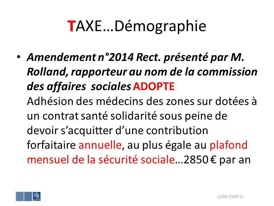 T TAXE…Démographie Amendement n°2014 Rect. présenté par M. Rolland, rapporteur au nom de la commission des affaires sociales ADOPTE Adhésion des médec