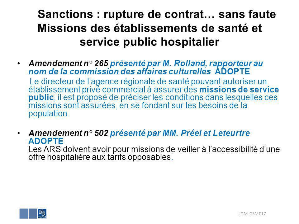 Sanctions : rupture de contrat… sans faute Missions des établissements de santé et service public hospitalier Amendement n° 265 présenté par M. Rollan