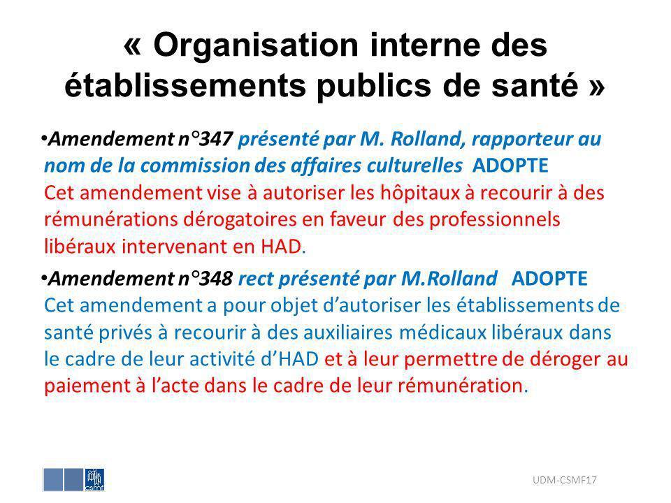 « Organisation interne des établissements publics de santé » Amendement n°347 présenté par M. Rolland, rapporteur au nom de la commission des affaires