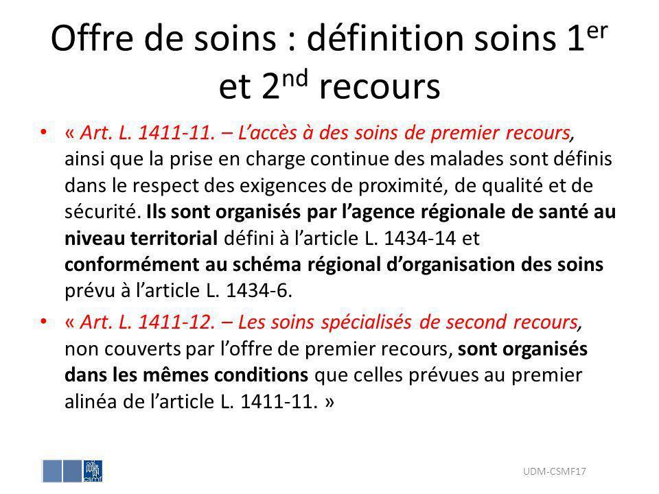Offre de soins : définition soins 1 er et 2 nd recours « Art. L. 1411-11. – Laccès à des soins de premier recours, ainsi que la prise en charge contin