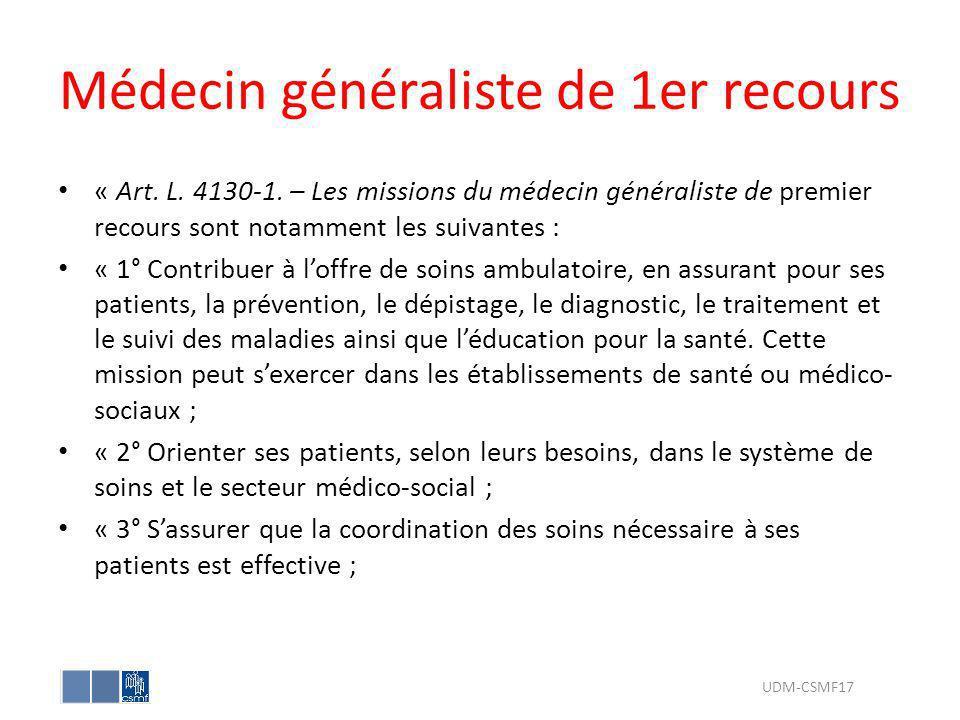 Médecin généraliste de 1er recours « Art. L. 4130-1. – Les missions du médecin généraliste de premier recours sont notamment les suivantes : « 1° Cont