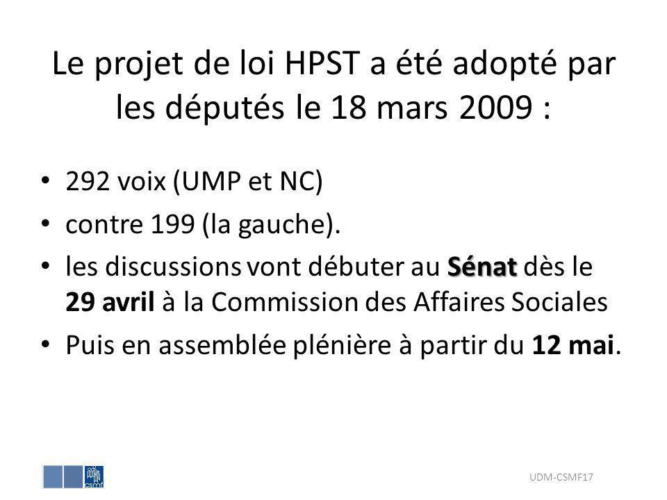 Le projet de loi HPST a été adopté par les députés le 18 mars 2009 : 292 voix (UMP et NC) contre 199 (la gauche). Sénat les discussions vont débuter a