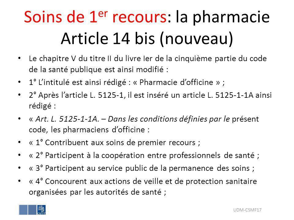 Soins de 1 er recours: la pharmacie Article 14 bis (nouveau) Le chapitre V du titre II du livre Ier de la cinquième partie du code de la santé publiqu