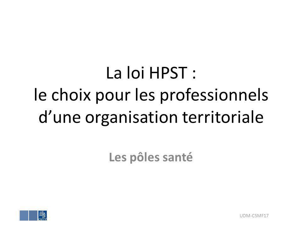 La loi HPST : le choix pour les professionnels dune organisation territoriale Les pôles santé UDM-CSMF17