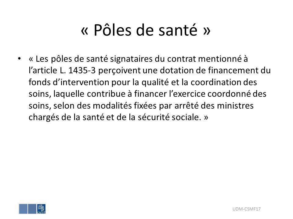 « Pôles de santé » « Les pôles de santé signataires du contrat mentionné à larticle L. 1435-3 perçoivent une dotation de financement du fonds dinterve