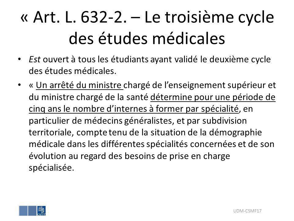 « Art. L. 632-2. – Le troisième cycle des études médicales Est ouvert à tous les étudiants ayant validé le deuxième cycle des études médicales. « Un a