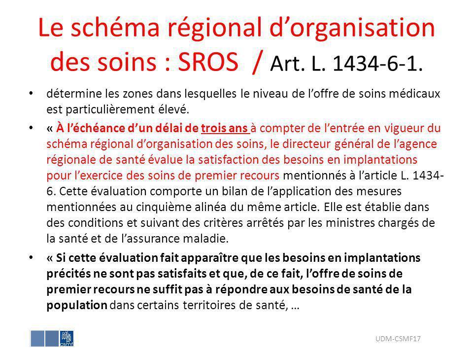 Le schéma régional dorganisation des soins : SROS / Art. L. 1434-6-1. détermine les zones dans lesquelles le niveau de loffre de soins médicaux est pa