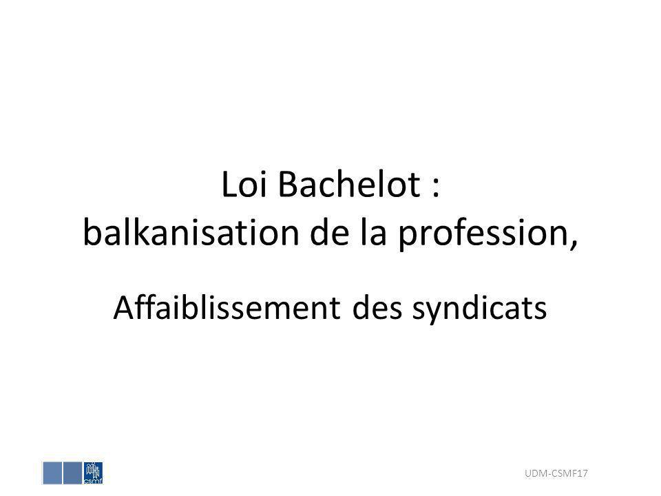 Loi Bachelot : balkanisation de la profession, Affaiblissement des syndicats UDM-CSMF17
