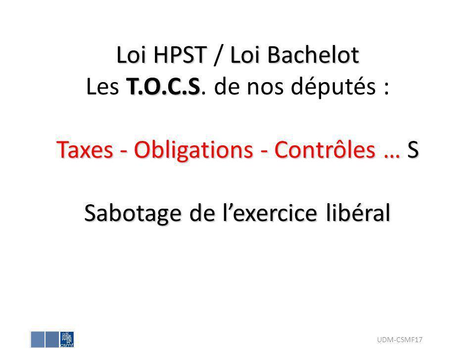 Loi HPSTLoi Bachelot T.O.C.S Taxes - Obligations - Contrôles … S Sabotage de lexercice libéral Loi HPST / Loi Bachelot Les T.O.C.S. de nos députés : T