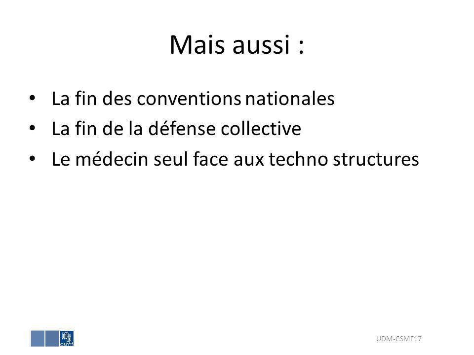 Mais aussi : La fin des conventions nationales La fin de la défense collective Le médecin seul face aux techno structures UDM-CSMF17