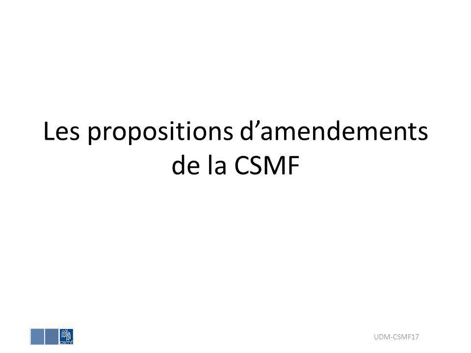 Les propositions damendements de la CSMF UDM-CSMF17