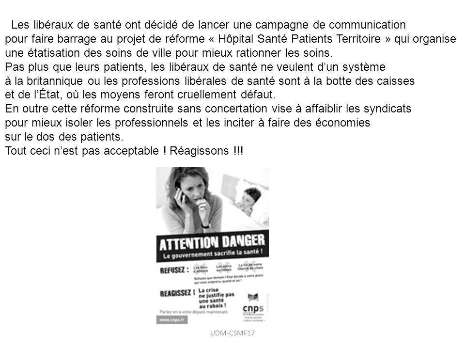 Les libéraux de santé ont décidé de lancer une campagne de communication pour faire barrage au projet de réforme « Hôpital Santé Patients Territoire »