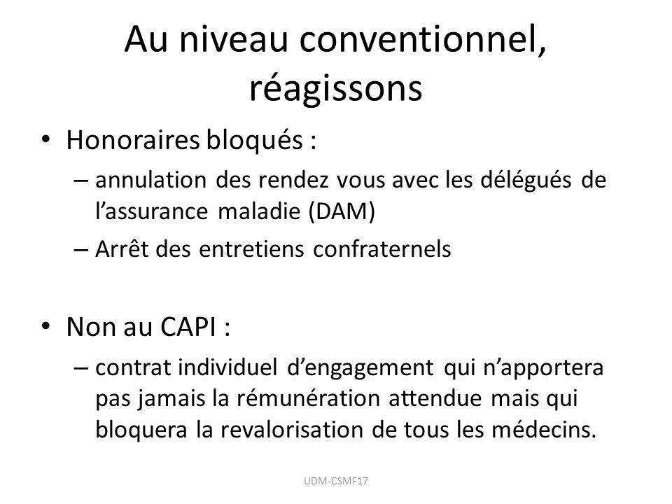 Au niveau conventionnel, réagissons Honoraires bloqués : – annulation des rendez vous avec les délégués de lassurance maladie (DAM) – Arrêt des entret