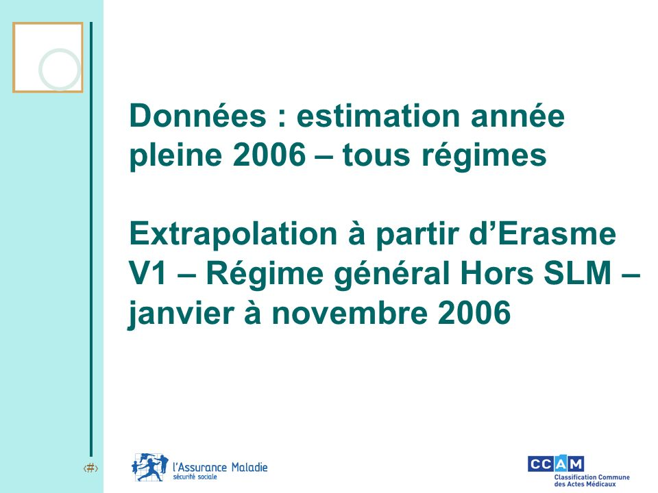 3 Données : estimation année pleine 2006 – tous régimes Extrapolation à partir dErasme V1 – Régime général Hors SLM – janvier à novembre 2006