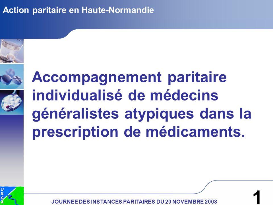 JOURNEE DES INSTANCES PARITAIRES DU 20 NOVEMBRE 2008 1 Action paritaire en Haute-Normandie Accompagnement paritaire individualisé de médecins généralistes atypiques dans la prescription de médicaments.