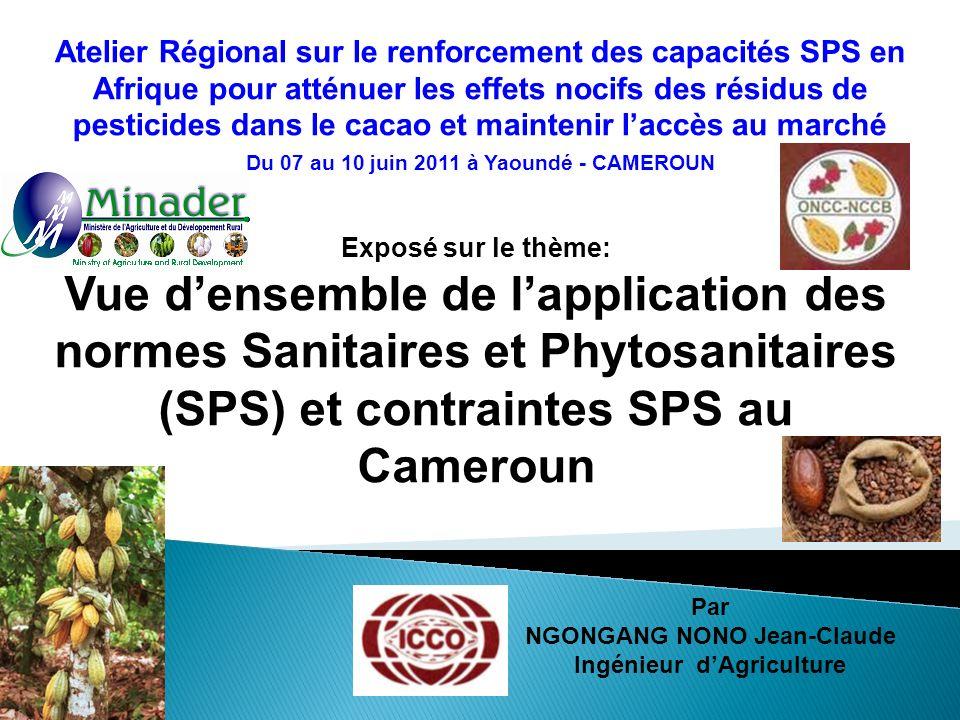Exposé sur le thème: Vue densemble de lapplication des normes Sanitaires et Phytosanitaires (SPS) et contraintes SPS au Cameroun Par NGONGANG NONO Jea