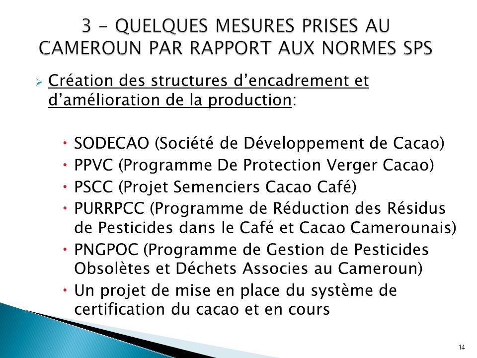 Création des structures dencadrement et damélioration de la production: SODECAO (Société de Développement de Cacao) PPVC (Programme De Protection Verg