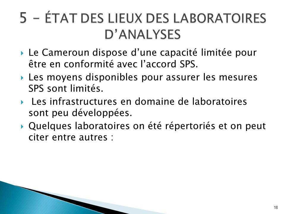 Le Cameroun dispose dune capacité limitée pour être en conformité avec laccord SPS. Les moyens disponibles pour assurer les mesures SPS sont limités.