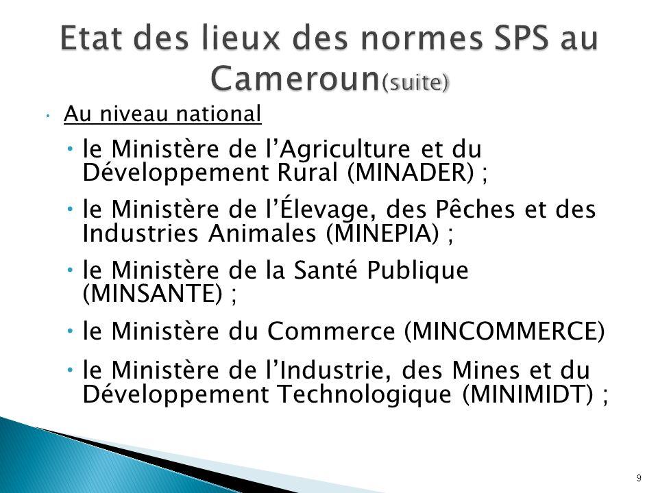Au niveau national le Ministère de lAgriculture et du Développement Rural (MINADER) ; le Ministère de lÉlevage, des Pêches et des Industries Animales