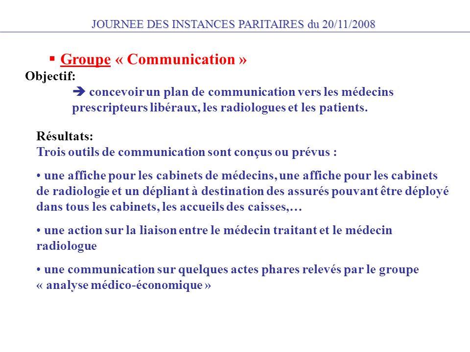 JOURNEE DES INSTANCES PARITAIRES du 20/11/2008 Groupe « Communication » Objectif: concevoir un plan de communication vers les médecins prescripteurs libéraux, les radiologues et les patients.